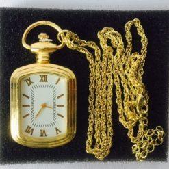 Reloj De Bolsillo Acero Inoxidable Vintage Dorado Manecillas_1