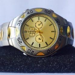 Reloj De Pulsera Cuarzo Vintage Plateado Gold Hombre Reman_0