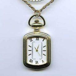 Reloj De Bolsillo Acero Inoxidable Vintage Dorado Manecillas_0