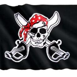 Bandera Pirata Jolly Roger Bandana Roja Decoración_0