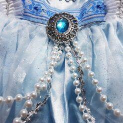 Disfraz Infantil De Princesa Azul Adorno Zafiro Y Perlas_1