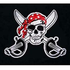 Bandera Pirata Jolly Roger Bandana Roja Decoración_1